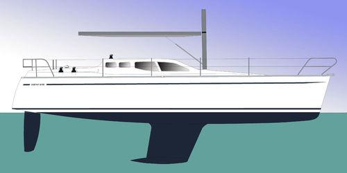 cruising sailing yacht / open transom / deck saloon / fiberglass