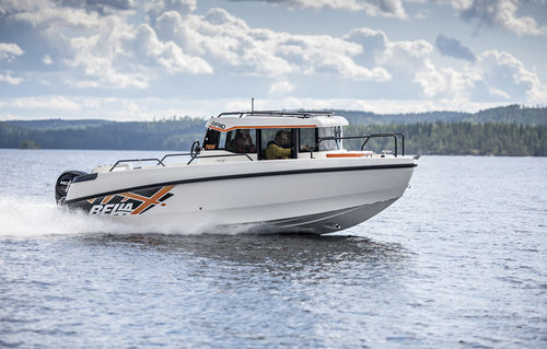 outboard cabin cruiser / with enclosed cockpit / fishing / 8-person max.