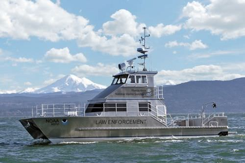 Catamaran patrol boat / inboard / aluminum / hydro-jet Peter Gladding All American Marine