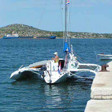 trimaran / coastal cruising / open transom / wooden