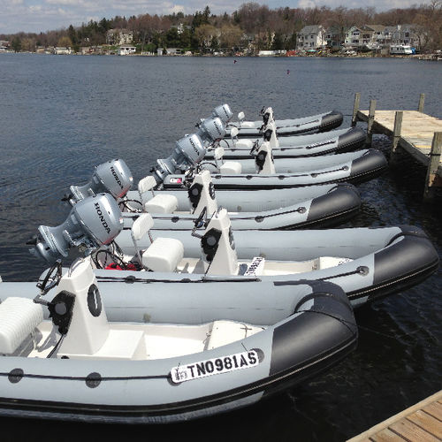 outboard inflatable boat / rigid / side console