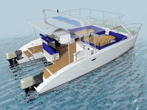 Catamaran center console boat / twin-engine / outboard / hard-top SAMUI 9.50MT Andaman Boatyard