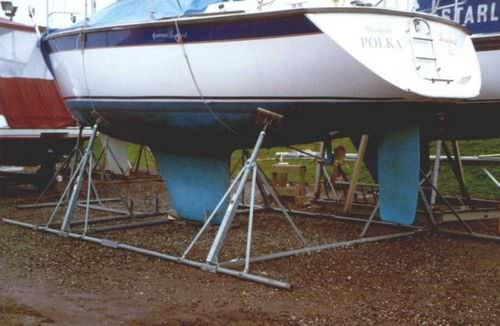 sailboat boat stand / fixed / galvanized steel
