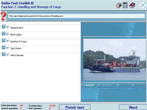 Knowledge testing software / navigation / for ships / for PCs DELTA-NAVIGATOR STORM Ltd.