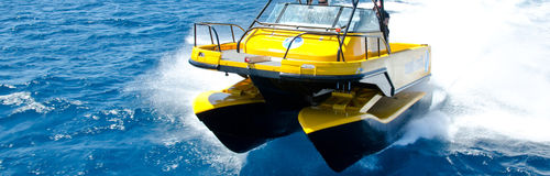 center console catamaran / outboard / 4-person max. / with suspension system