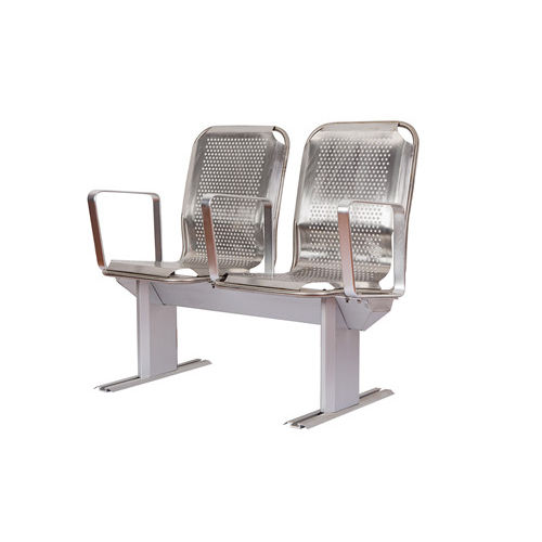 passenger ship seat / with armrests / 2-person / stainless steel