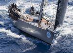 cruising-racing sailing yacht / open transom / twin steering wheels