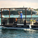 outboard pontoon boat / electric / tri-tube / sport-fishing