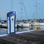 pedestal with built-in light / electrical distribution / water supply / for docks