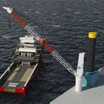 ship crane / port / deck / luffing jib