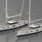 cruising sailing yacht / deck saloon / with bowsprit / twin steering wheels