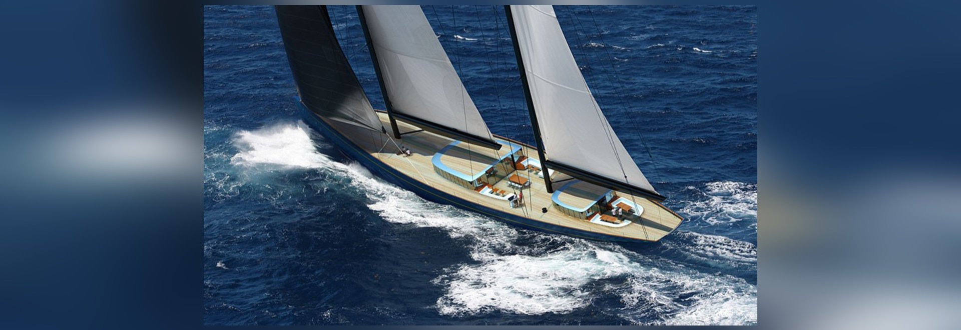 the 70 meter sailing yacht includes two glass deckhouses
