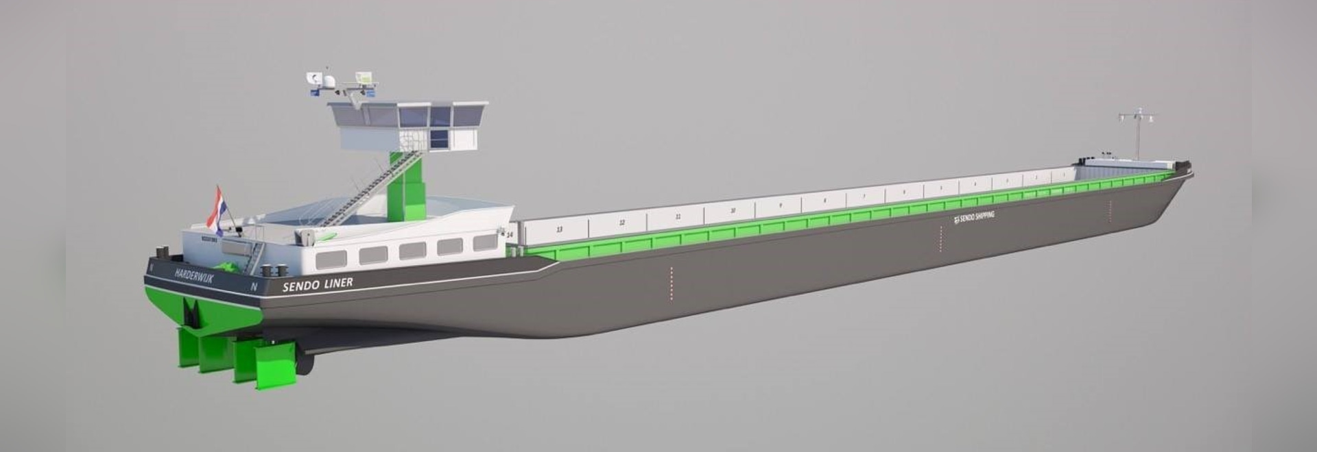 Damen completes first diesel-electric inland barge build for Sendo Shipping