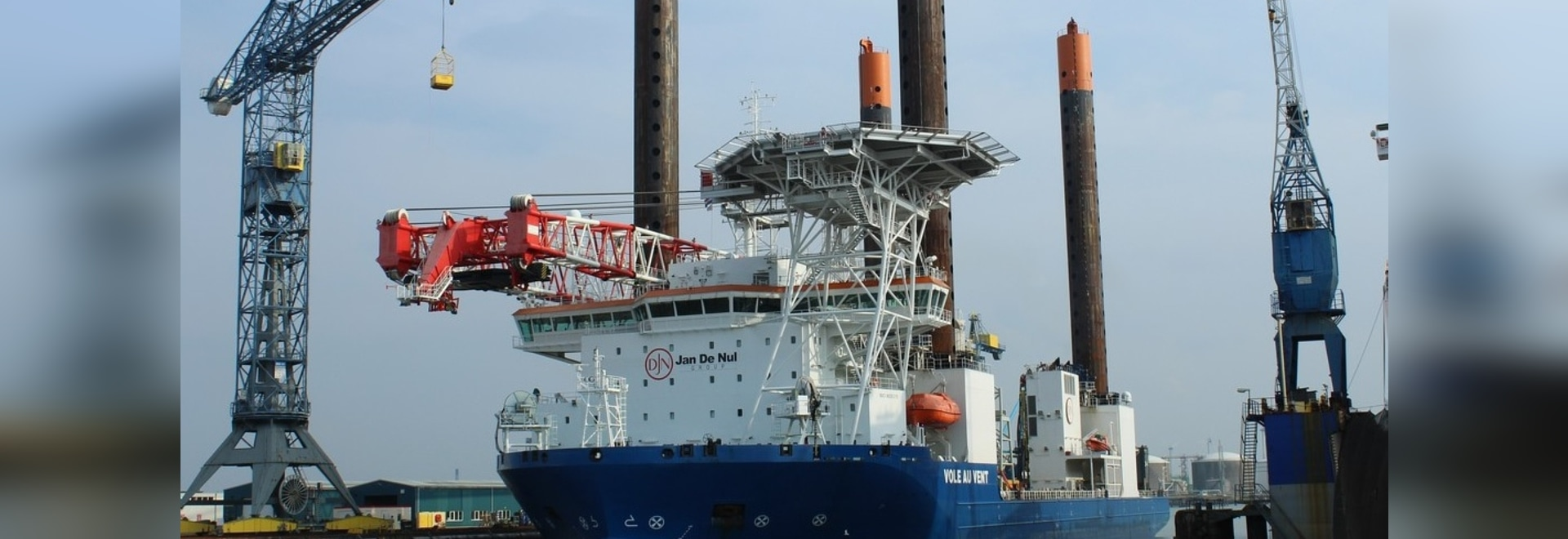 The jack-up vessel 'Vole au vent' at Damen Shiprepair Vlissingen