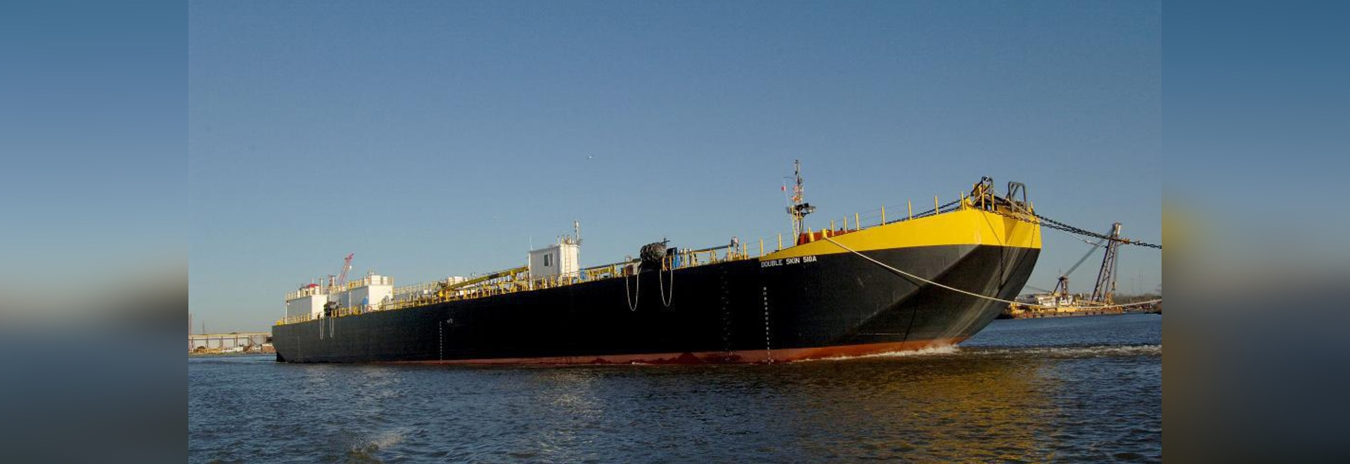"New 361'x62'x24'6"" asphalt barge was christened back in January. Conrad Shipyard photo"