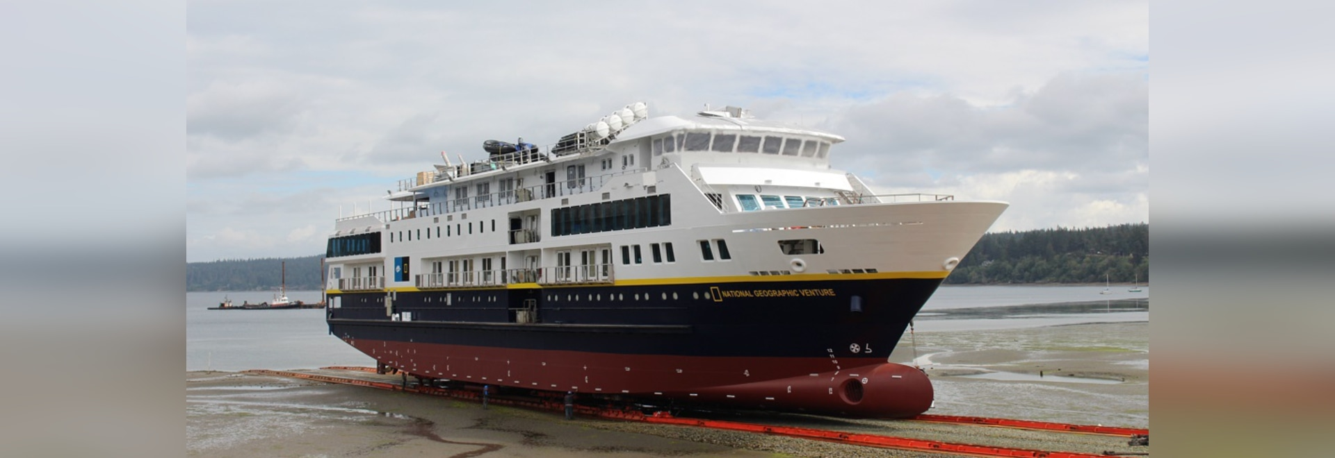 The second of two expedition cruise vessels for Lindblad Expeditions recently launched at Nichols Brothers Boat Builders' Freeland, Wash., shipyard. Nichols Brothers Boat Builders photo