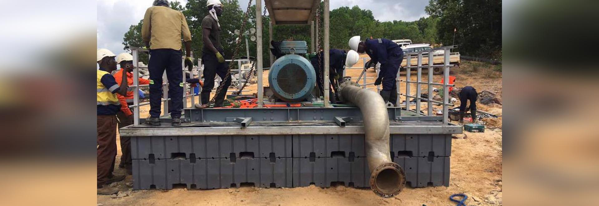 WATER TREATMENT IN GHANA ON WAP PONTOONS