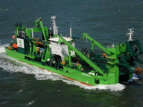 The heavy duty rock cutter dredger Ambiorix will undertake the works at Port Louis Harbour