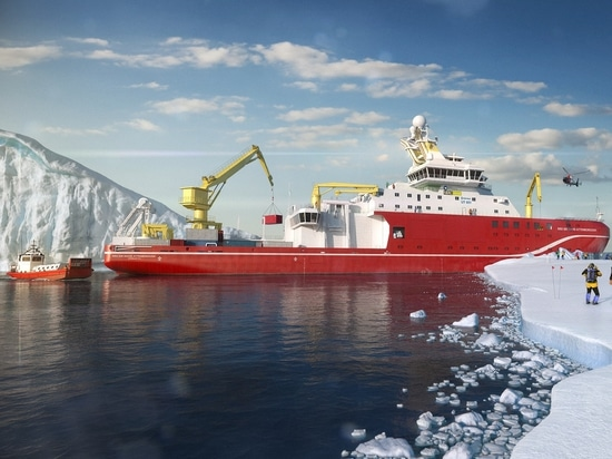 Artist impression of 'RRS Sir David Attenborough', the UK's largest and most advanced multi-disciplinary research vessel being built by Cammell Laird
