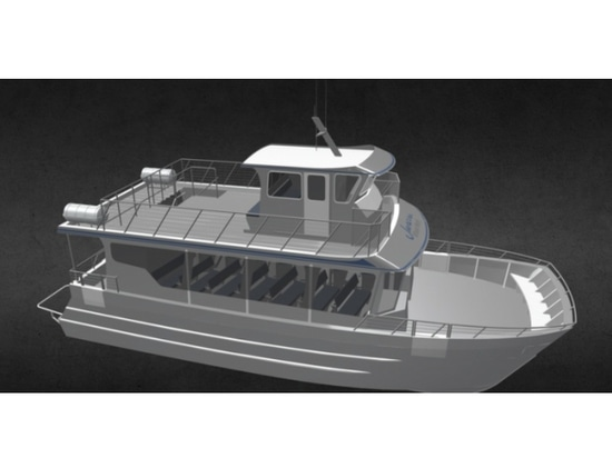 New 53' whale watching boat is under construction at Bay Welding Services. Bay Welding Services photo