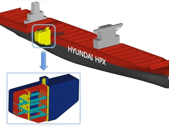 HHI's fuel tank design was conceptualized and developed to minimize the loss of cargo space and effectively use available area on board the vessel