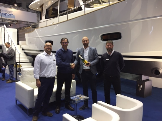 Photo: Meeting Edge water team with Jose Luis Sastre, Sasga Yachts' General Manager in BOOT 2017
