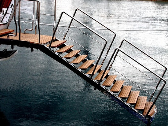 This luxurious hydraulic gangway doubles as a swim ladder (Courtesy of NV)