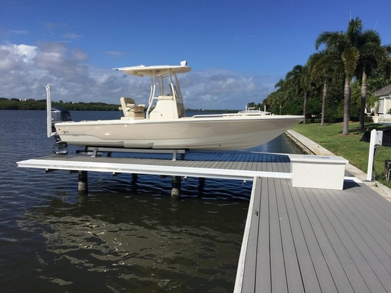 The NO PROFILE boat lift system (Courtesy of NO PROFILE Boat Lifts)