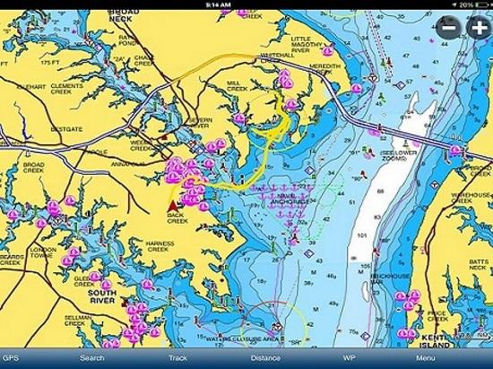 A screen shot of the Navionics app (Courtesy of Boats.com)