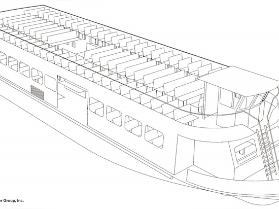 New ferry for Sayville, N.Y., to Fire Island run is in its design phase. Bristol Harbor Group line drawing.