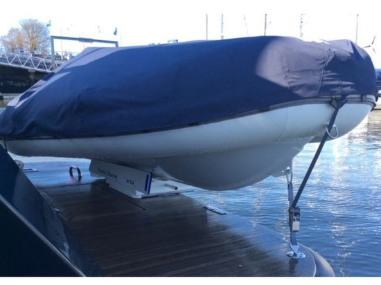 The Hurley davit system allows for retrieval and launching of both dinghies and outboard motors