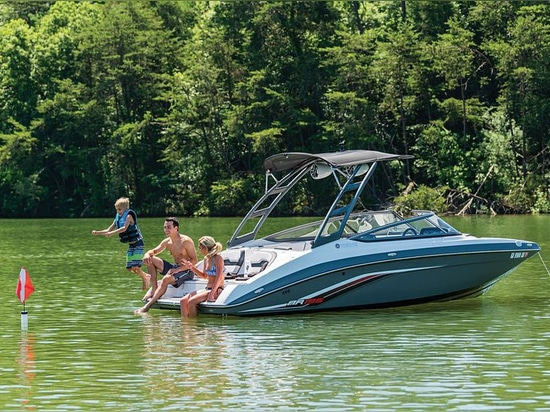 The AR195 model includes a watersports tower with integrated sun top.Courtesy Yamaha Motor Corporation USA