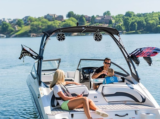 The cockpit features a bench seat wrapping from the stern all the way to the port console.Courtesy Yamaha Motor Corporation USA