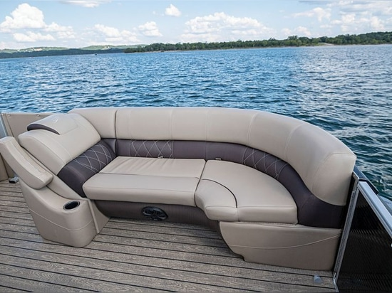 The two bow couches feature forward-facing backrests with fold-down armrests.Courtesy Silver Wave Pontoons