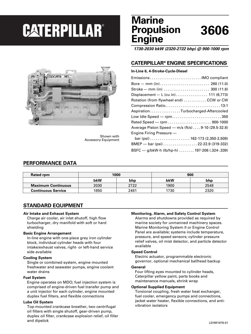 Cat 3606 Propulsion Spec Sheets - 1 / 2 Pages