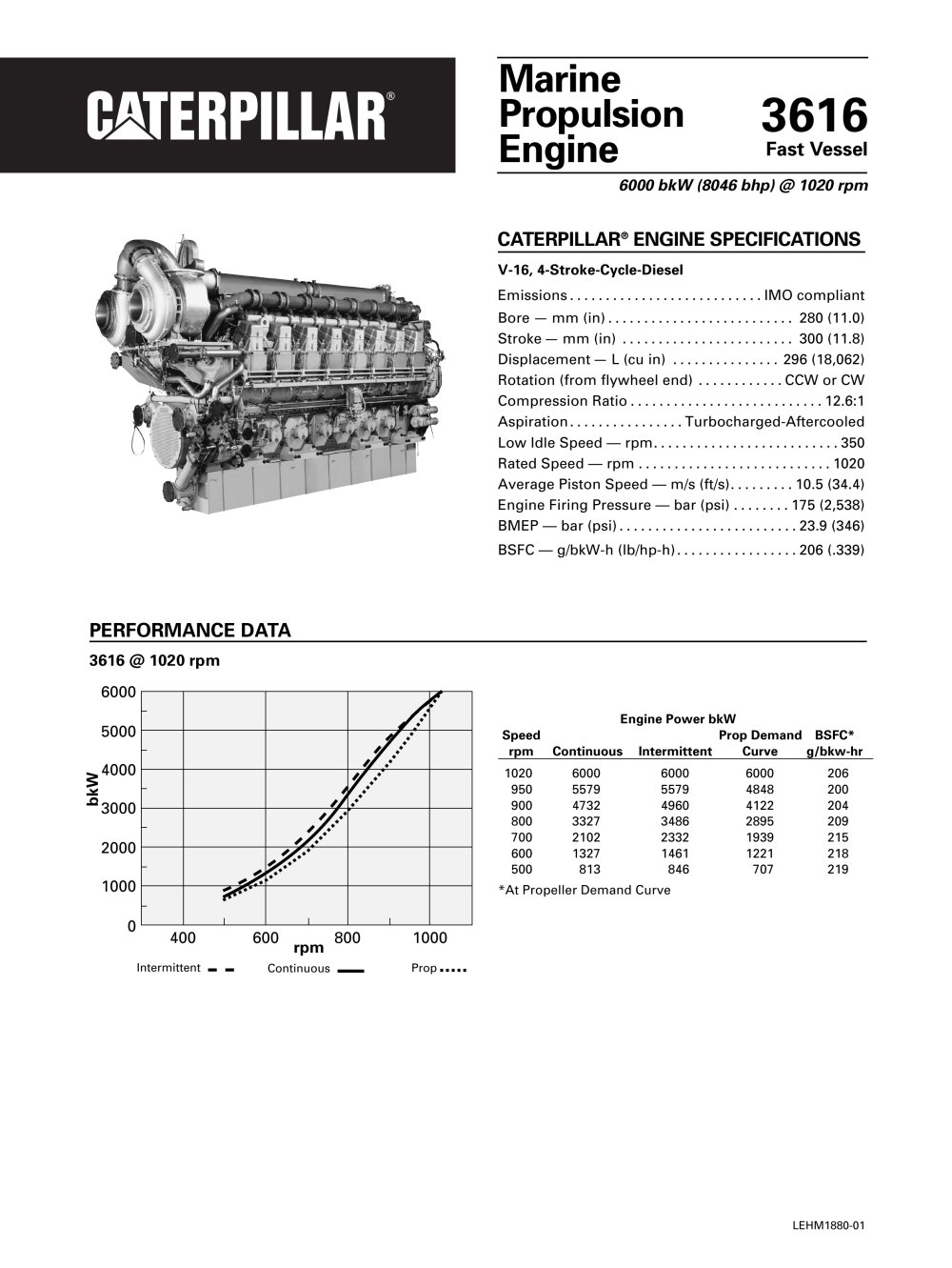 Cat 3616 (8158 mhp) Propulsion Spec Sheets - 1 / 4 Pages