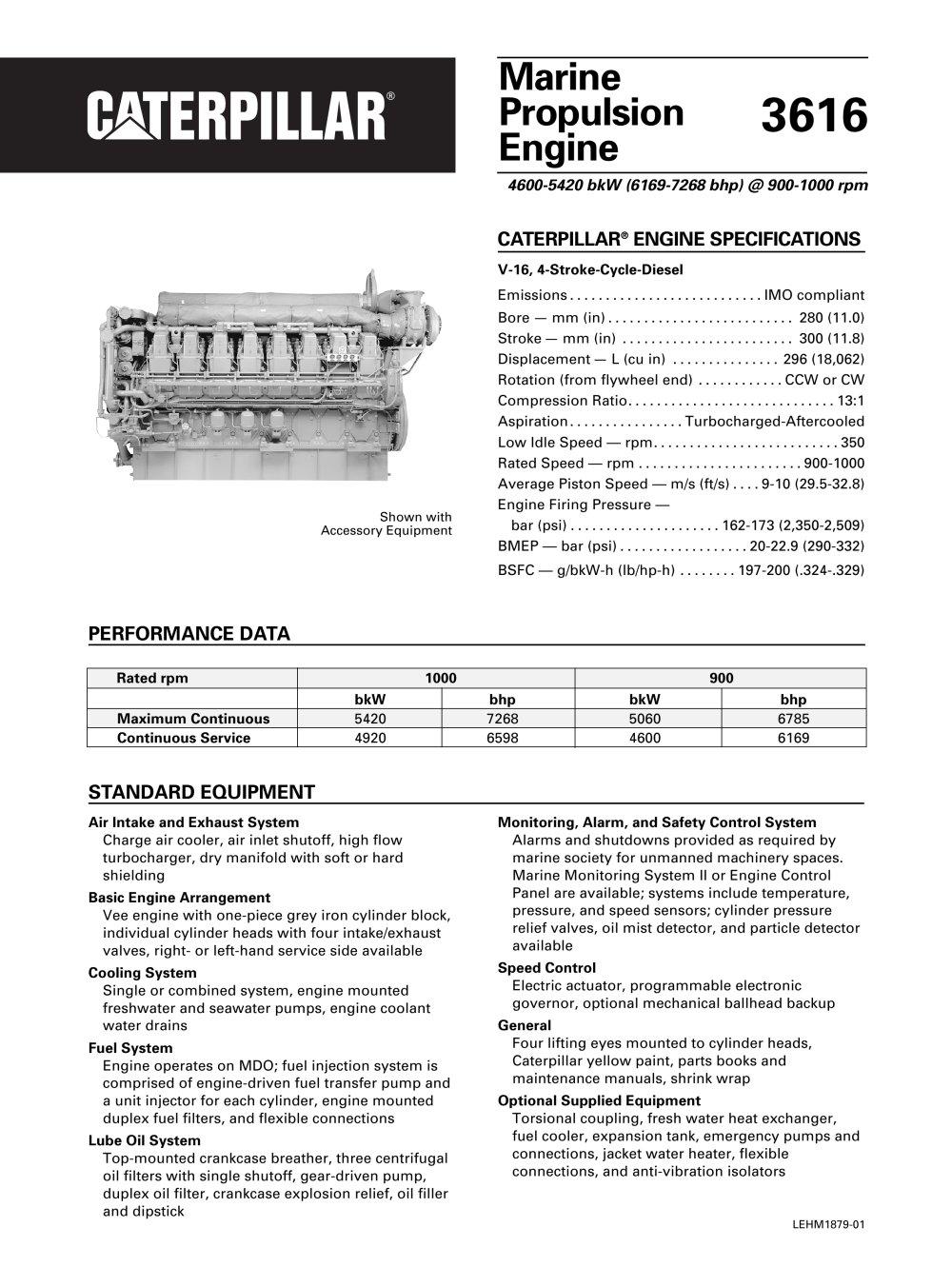 Cat 3616 Propulsion Spec Sheets - 1 / 2 Pages
