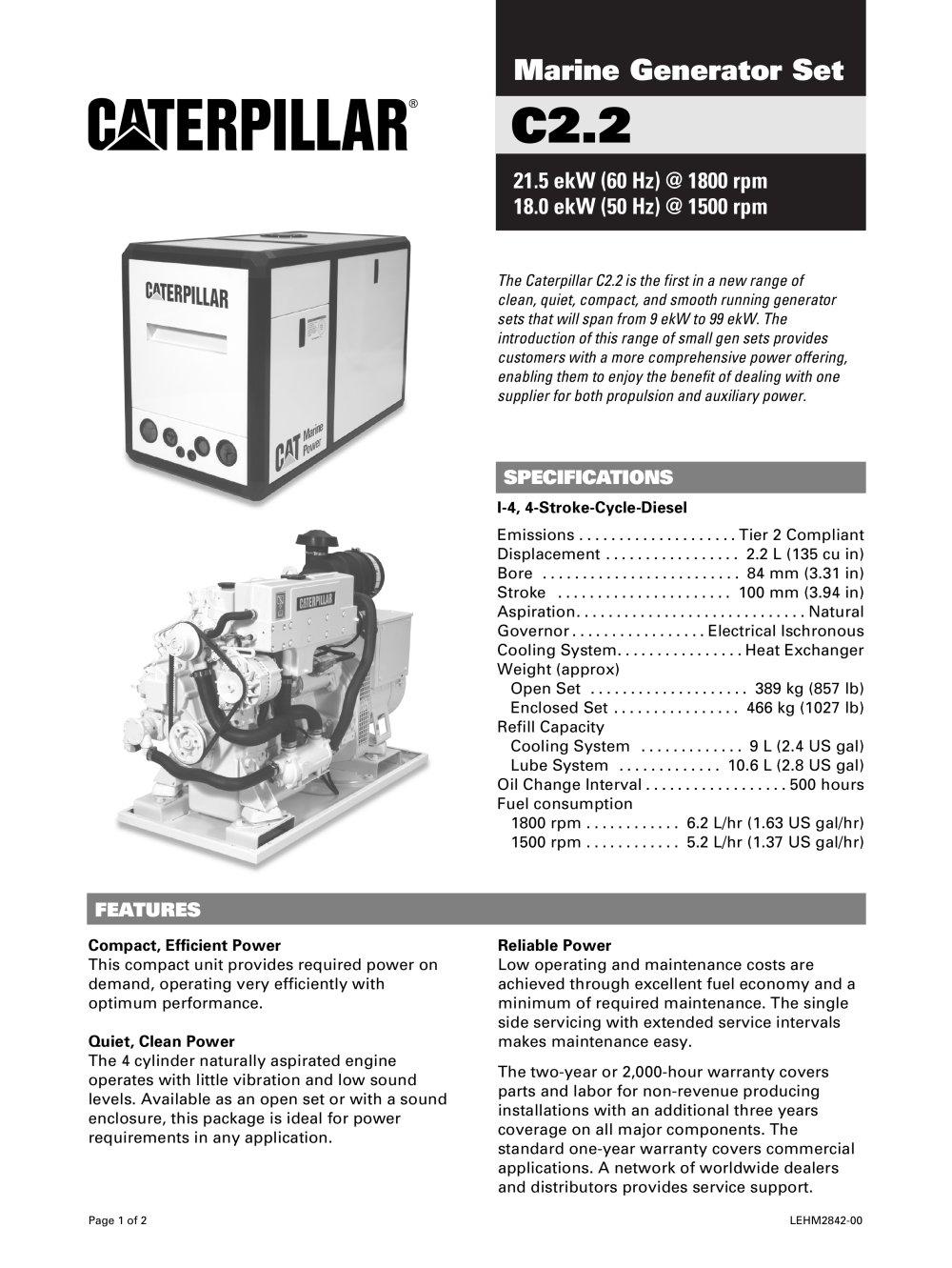 Cat C2-2 Genset Spec Sheet - 1 / 2 Pages