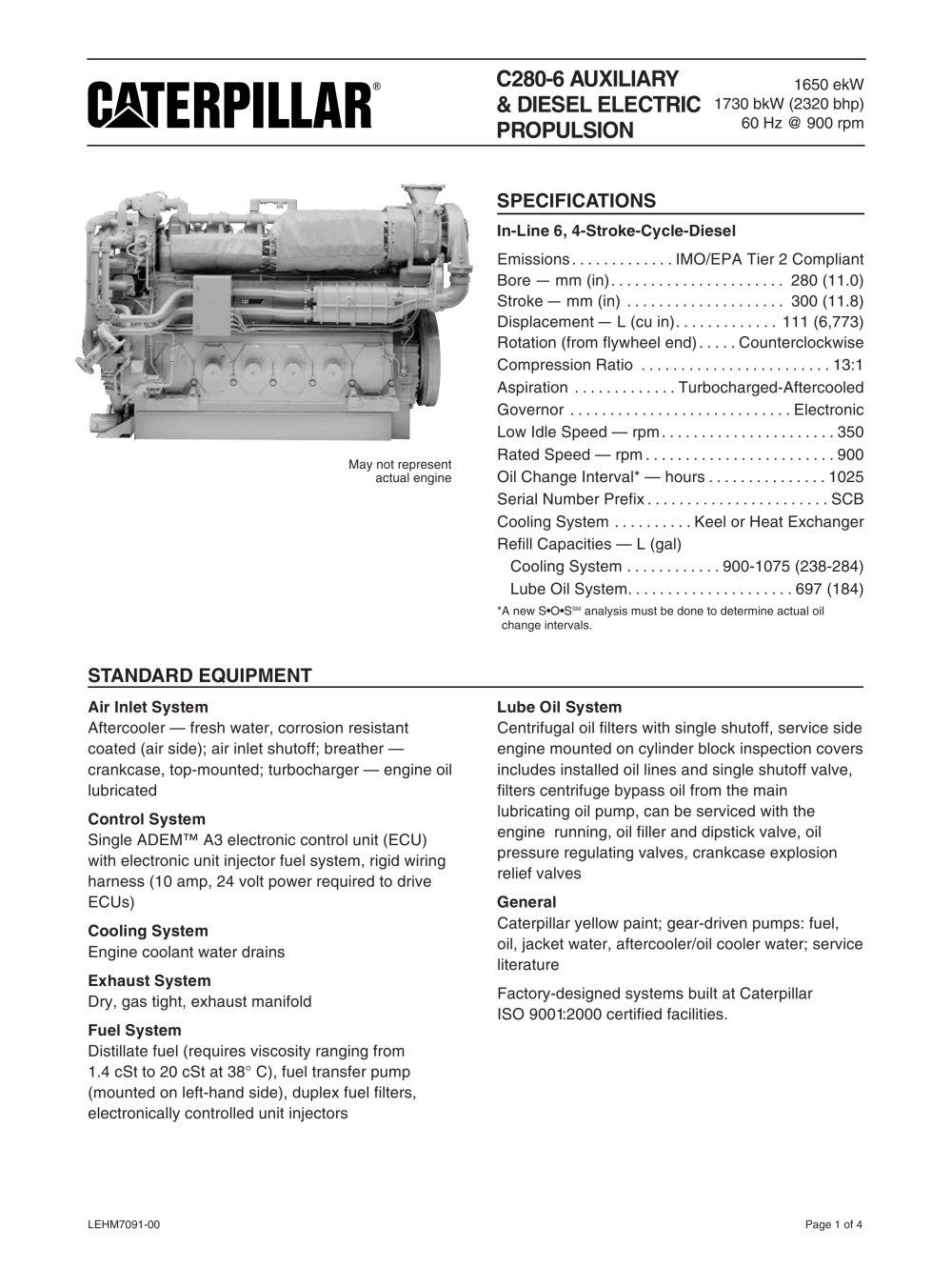 Cat C280-6 Genset Spec Sheet - 1 / 16 Pages
