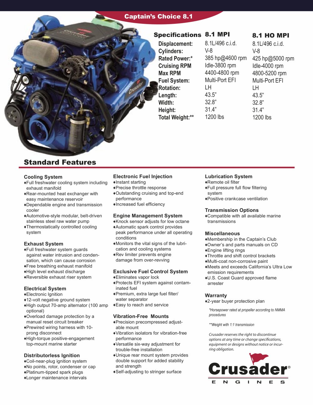 crusader captain s choice 8 1 8 1ho crusader pdf catalogues rh pdf nauticexpo com Crusader 350 Marine Engine Specifications Crusader 5.7 Marine Engines Complete