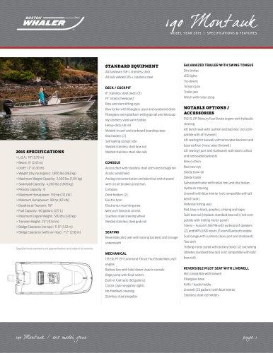 190 Montauk Specifications - 2015