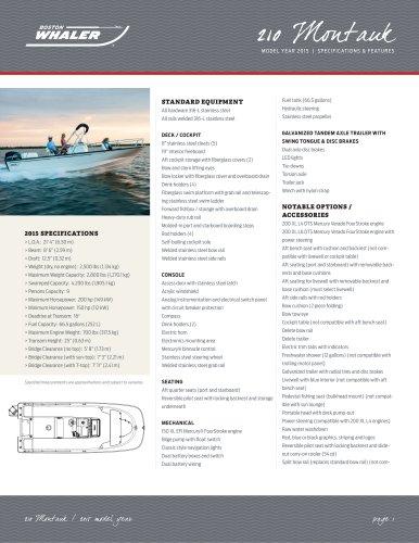 210 Montauk Specifications - 2015