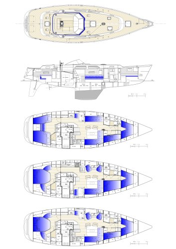 Hallberg-Rassy 48 Mk II Interior layouts