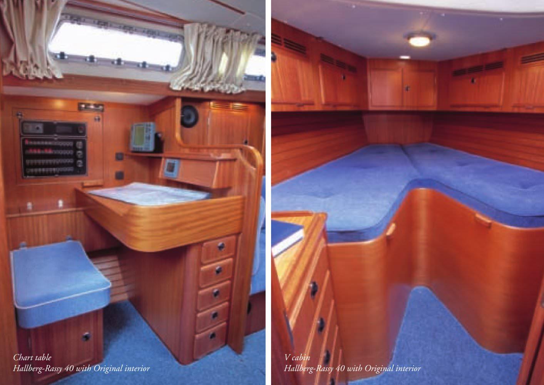 Chart table Hallberg-Rassy 40 with Original interior V cabin Hallberg-Rassy ...