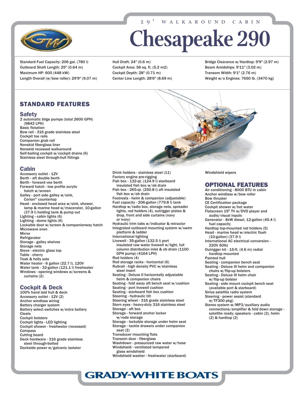 Chesapeake 290 Grady White Pdf Catalogues Documentation Wiring Boat Cabin Lights 1 Pages