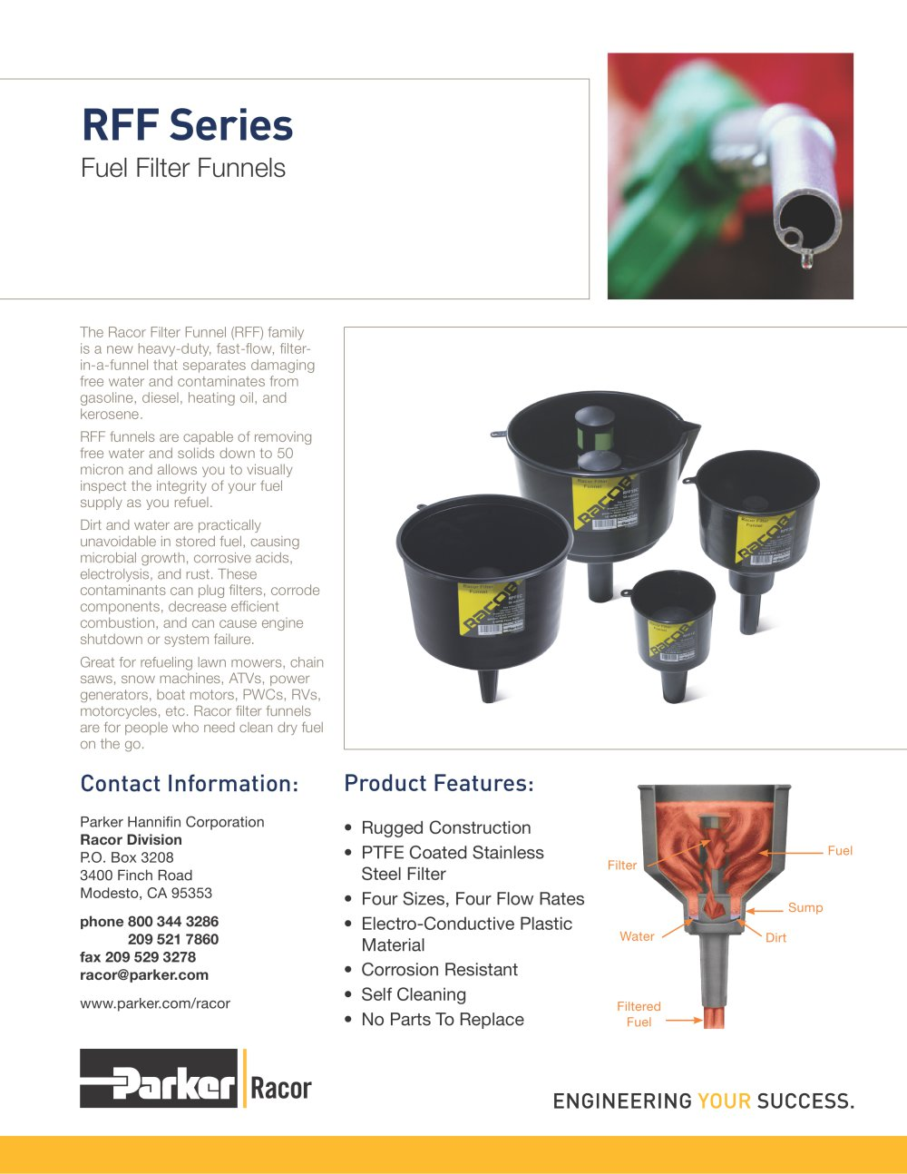 Racor Filter Funnels Bulletin - 1 / 2 Pages