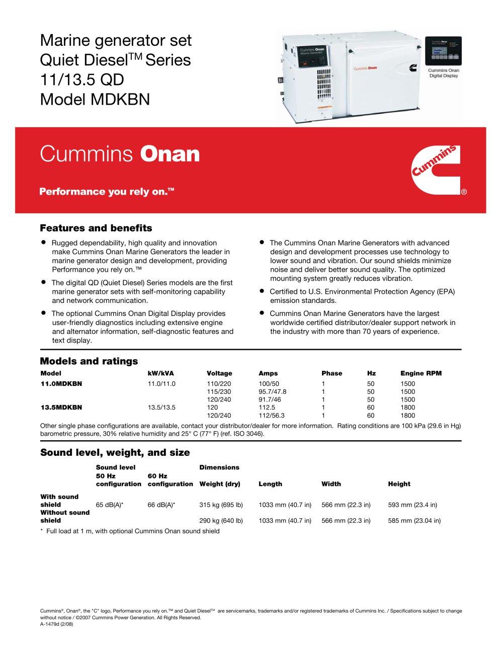 cummins onan marine generator set quiet diesel series 11 135 qd model mdkbn 90813_1b cummins onan marine generator set quiet diesel™ series 11 13 5 qd  at readyjetset.co