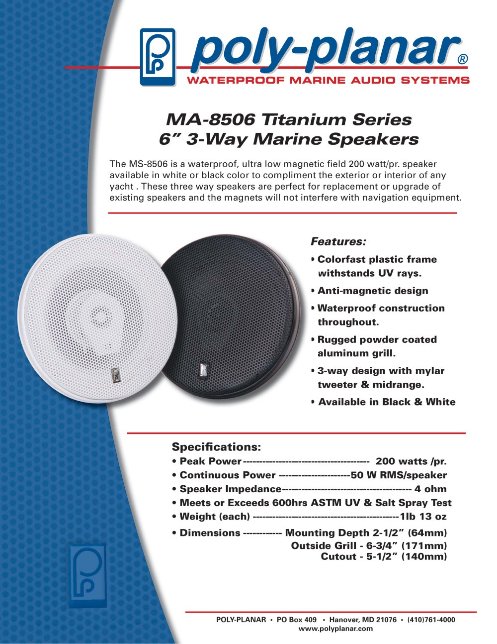 Ma 8506 Titanium Series 6 3 Way Marine Speakers Poly Planar Pdf