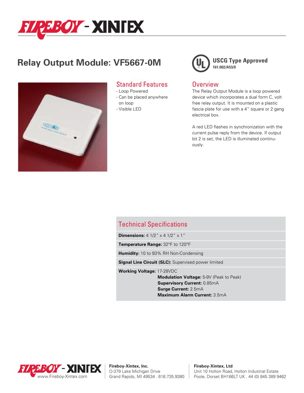 Relay Output Module Fireboy Xintex Pdf Catalogues Current Alarm 1 Pages