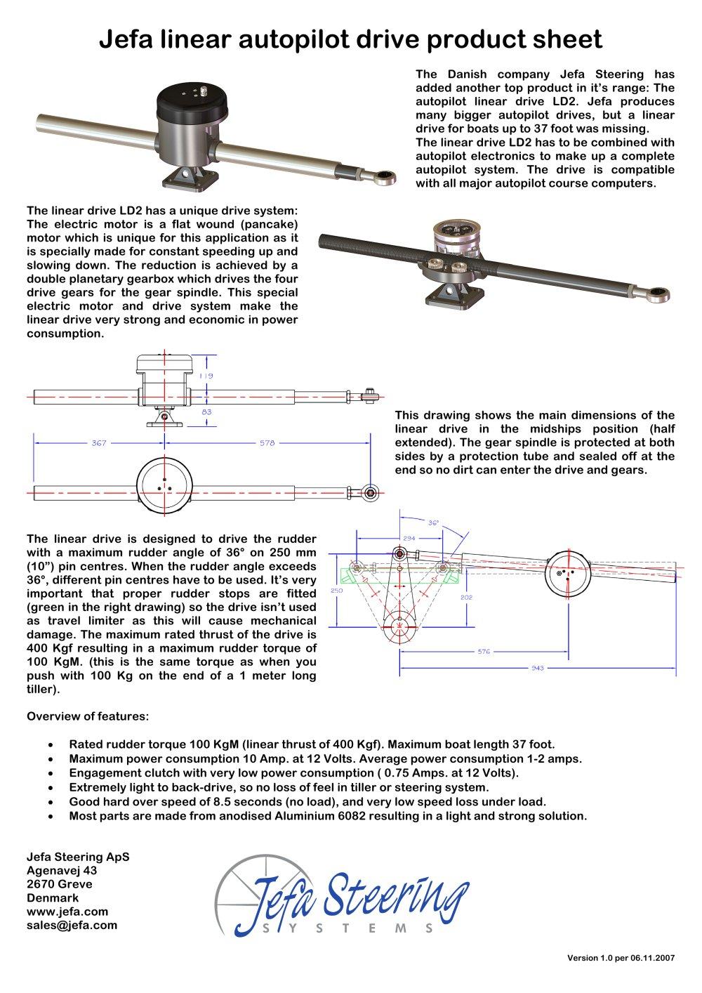 jefa linear autopilot drive product sheet jefa pdf catalogues